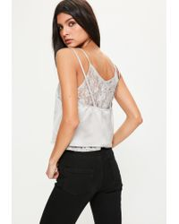 Missguided Gray Grey Lace Insert Satin Cami Top