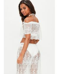 Missguided White Lace Bardot Cropped Top