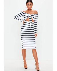 9d92ebd1ac845 Missguided Black Stripe Bardot Knot Front Midi Dress in Black - Lyst