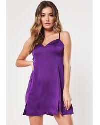 Missguided Purple Satin Cami Side Split Skater Dress
