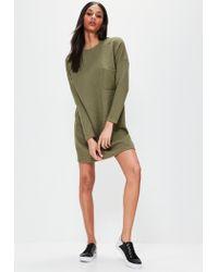 Missguided Multicolor Khaki Ribbed Pocket Jumper Dress