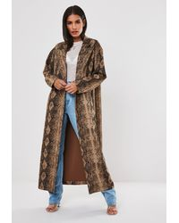 Missguided Premium Brown Snake Print Faux Suede Trench Coat