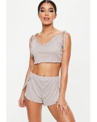 Missguided Gray Grey Ribbed Shoulder Cropped Pyjama Set