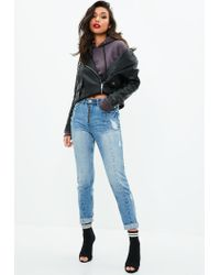 Missguided - Riot Blue High Rise Zip Front Mom Jeans - Lyst