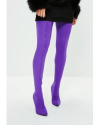 Missguided Purple Stiletto Thigh High Boots