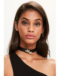 Missguided | Black Leopard Choker Necklace | Lyst