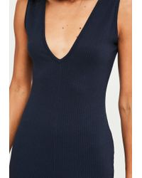 Missguided Blue Navy V Front Ribbed Jumpsuit