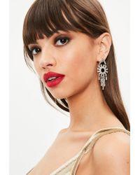 Missguided - Metallic Silver Dropped Chandelier Earrings - Lyst