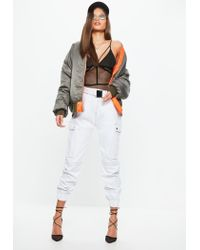 Missguided White Buckle Detail Utility Trousers