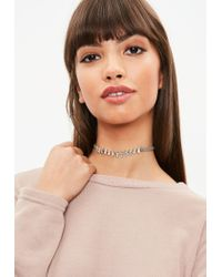 Missguided - Gray Grey Diamante Choker Necklace - Lyst