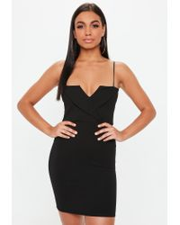 Missguided - Black Fold Over Strappy Dress - Lyst