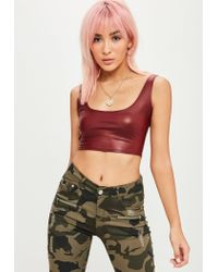 Missguided - Multicolor Burgundy Faux Leather Bralette - Lyst