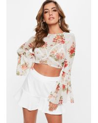 Missguided Natural Cream Floral Mesh Flared Sleeve Crop Top