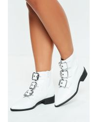Missguided White Three Buckle Pointed Biker Boots