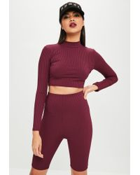 Missguided Red Burgundy Ribbed Cycling Shorts