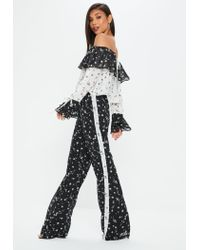 Missguided Tall Black Wide Leg Floral Trousers