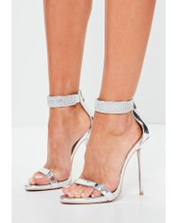 Missguided - Metallic Peace + Love Silver Diamante Ankle Cuff Barley There Heels - Lyst