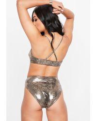 Missguided Gold Metallic Snake High Waist Bikini Set