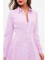 Missguided Pink Stripe Skater Shirt Dress