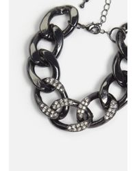 Missguided - Metallic Gunmetal Thick Chain Bracelet - Lyst