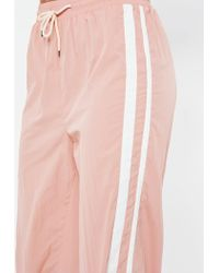 Missguided Petite Pink Shell Suit Double Side Stripe Trousers