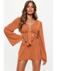 Missguided Brown Tie Front Crop Top