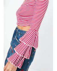 Missguided Red Stripe Ruffle Sleeve Wrap Top