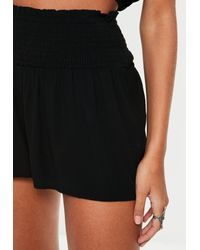 Missguided Tall Black Shirred Waist Shorts