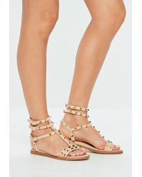 Missguided Natural Beige Strappy Studded Sandals