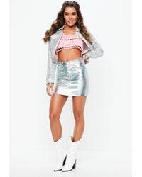 Missguided - Silver Metallic Petrol Look Denim Mini Skirt - Lyst