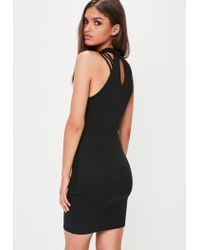 Missguided - Black High Neck Multi Strap Bodycon Dress - Lyst