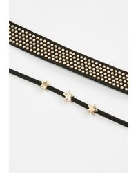 Missguided - Black Star Studded Choker Necklace - Lyst