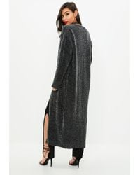 Missguided - Gray Charcoal Sparkle Maxi Cardigan - Lyst