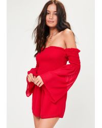 Missguided Red Shirred Top Playsuit