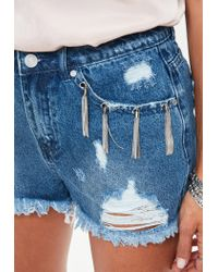 Missguided Blue Denim Metal Tassel Pocket Shorts