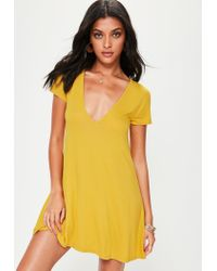 5f582362e8 Lyst - Missguided Yellow Cap Sleeve V Neck Swing Dress in Yellow