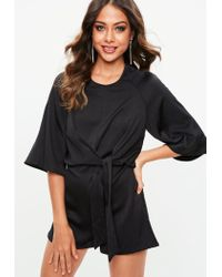 Missguided Black Tie Front Kimono Sleeve Playsuit