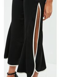 Missguided Black Satin Trim Frill Detail Culotte Trousers