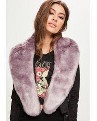 Missguided Purple Faux Fur Scarf