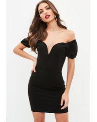 Missguided Black Bardot V Neckline Bodycon Dress