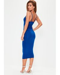 Missguided Blue Strap Detail Plunge Midi Dress