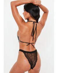Missguided - Black Back Lace Cut Out Cross Back Bodysuit - Lyst