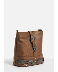 Missguided Brown Faux Leather Western Buckle Detail Cross Body Bag