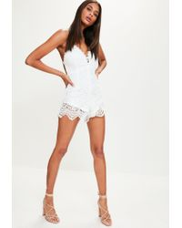 8cd4869caa4c Lyst - Missguided White Lace Trim Frill Front Romper in White