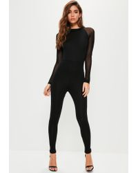 d7d4072b16d4 Lyst - Missguided Black Mesh Sleeve Jersey Unitard Jumpsuit in Black