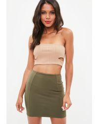 Missguided - Multicolor Nude Ribbed Bandeau Crop Top - Lyst
