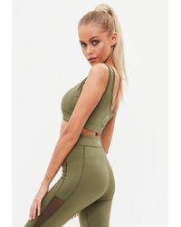 Missguided Green Active Khaki Crop Top