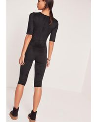 Missguided Faux Suede Short Sleeve 3/4 Leg Unitard Jumpsuit Black