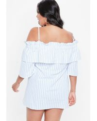 Missguided - Blue Curve Bardot Cotton Stripe Dress - Lyst