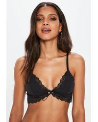 Missguided Black Longline Jersey Lace Soft Bra